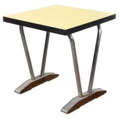 1960's French Yellow Laminate Café Table with Aluminium Base, Square