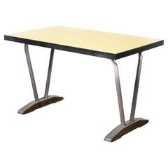 1960's French Yellow Laminate Dining Table with Aluminium Base, 'Model 779.1'