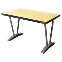 1960's French Yellow Laminate Dining Table with Aluminium Base, 'Model 779.2'