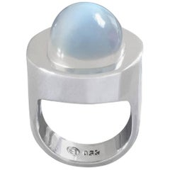 1960s Friedrich Becker Mid-Century Modernist Moonstone White Gold Ring