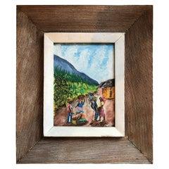 Fritz Bonnett Haitian Street Scene Oil on Board with Hand Carved Frame Haiti