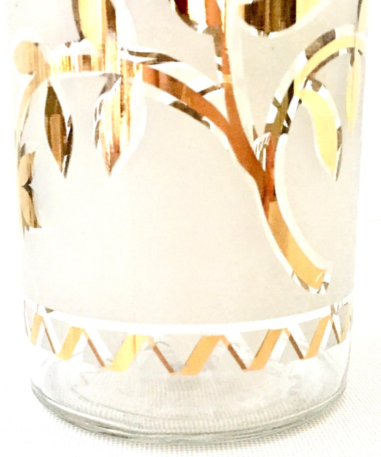 1960s Frosted Glass and 22-Karat Gold and Gilt Brass Drinks Set of 9 For Sale 4
