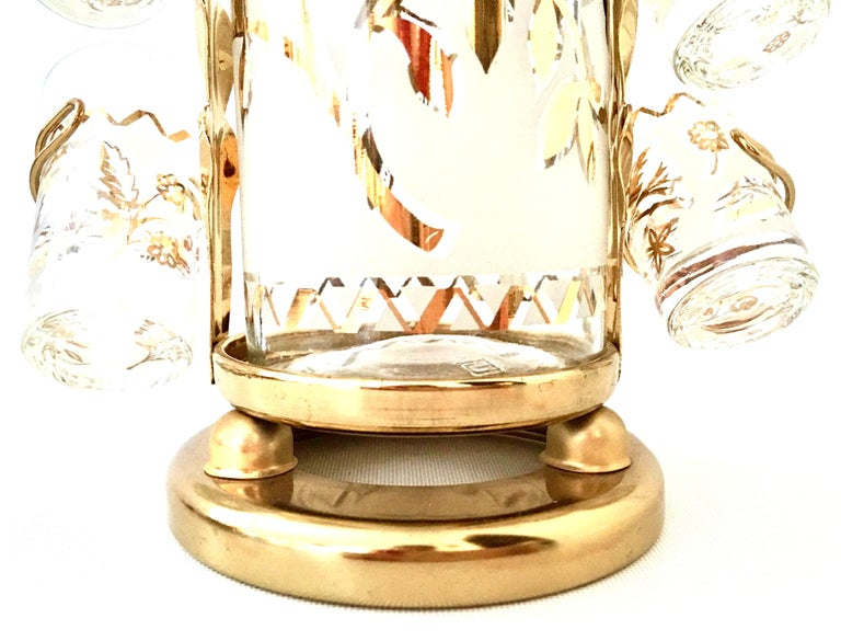 20th Century 1960s Frosted Glass and 22-Karat Gold and Gilt Brass Drinks Set of 9 For Sale