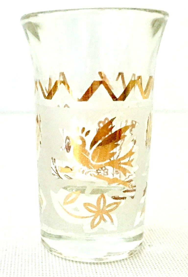 1960s Frosted Glass and 22-Karat Gold and Gilt Brass Drinks Set of 9 For Sale 3