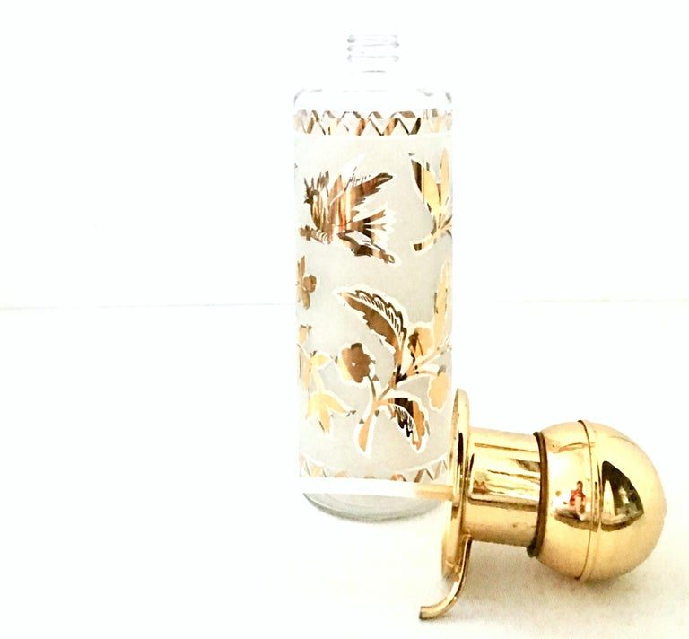 1960'S Frosted Glass & 22-Karat Gold Gilt Brass Drinks S/9 For Sale 1