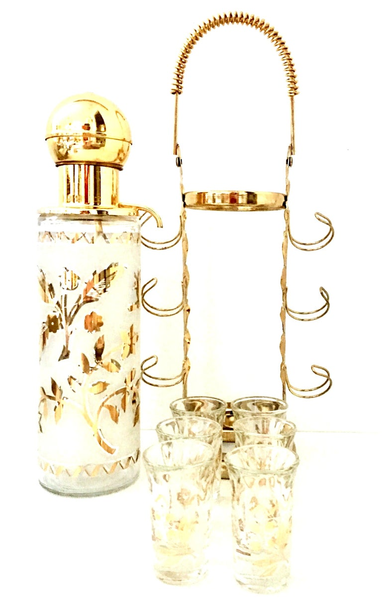 North American 1960'S Frosted Glass & 22-Karat Gold Gilt Brass Drinks S/9 For Sale