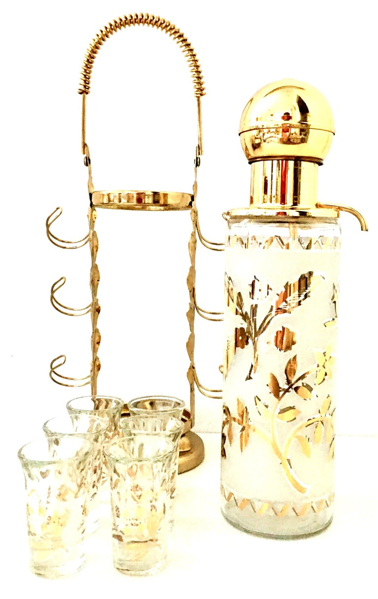 Hollywood Regency 1960'S Frosted Glass & 22-Karat Gold Gilt Brass Drinks S/9 For Sale