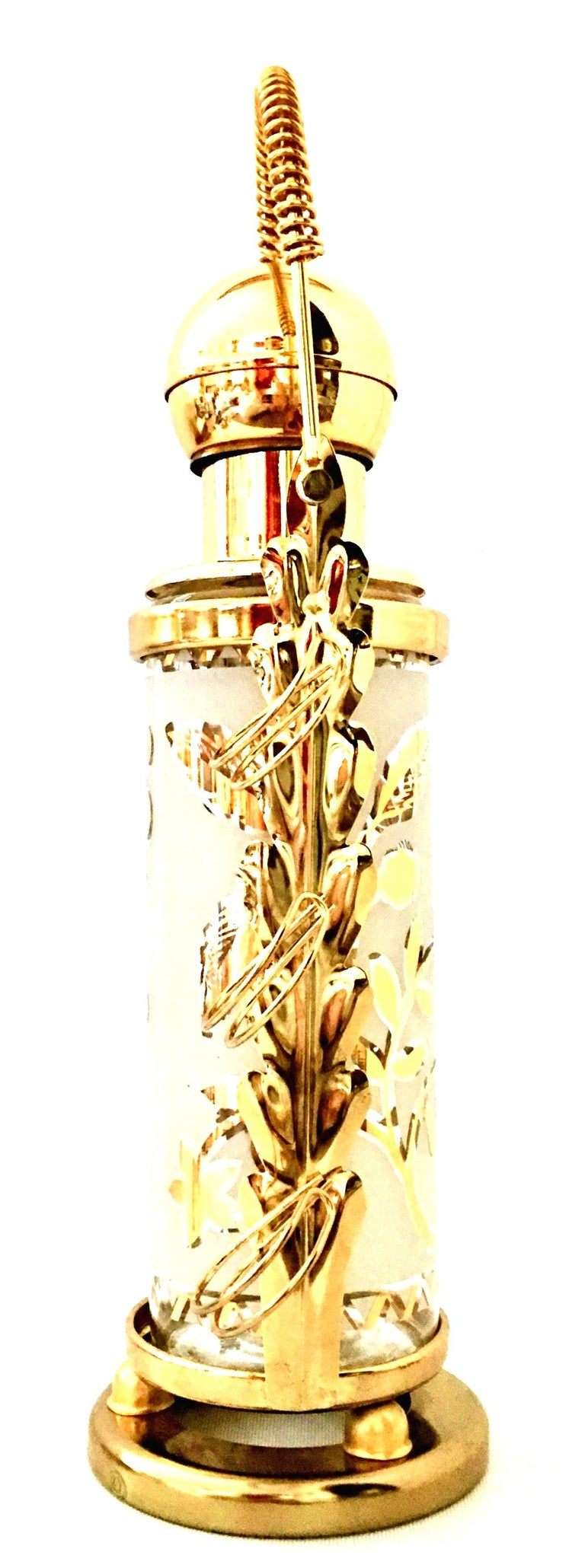 20th Century 1960'S Frosted Glass & 22-Karat Gold Gilt Brass Drinks S/9 For Sale