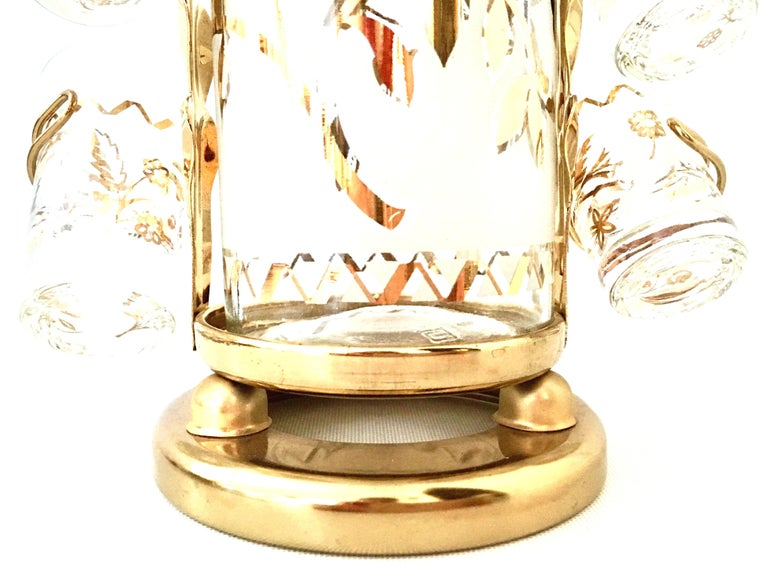 1960'S Frosted Glass & 22-Karat Gold Gilt Brass Drinks S/9 For Sale 2