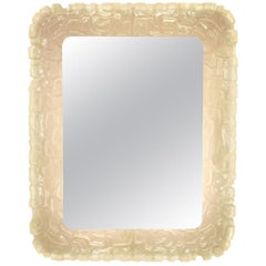 1960s Frosted Resin Italian Back-Lit Mirror