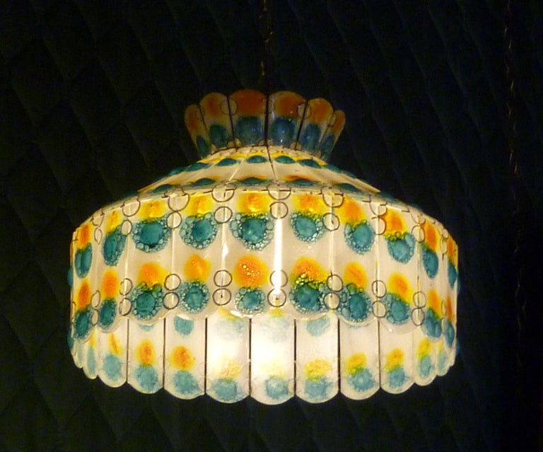 Mid-20th Century 1960s Fused Art Glass Chandelier in the Manner of Michael and Frances Higgins For Sale