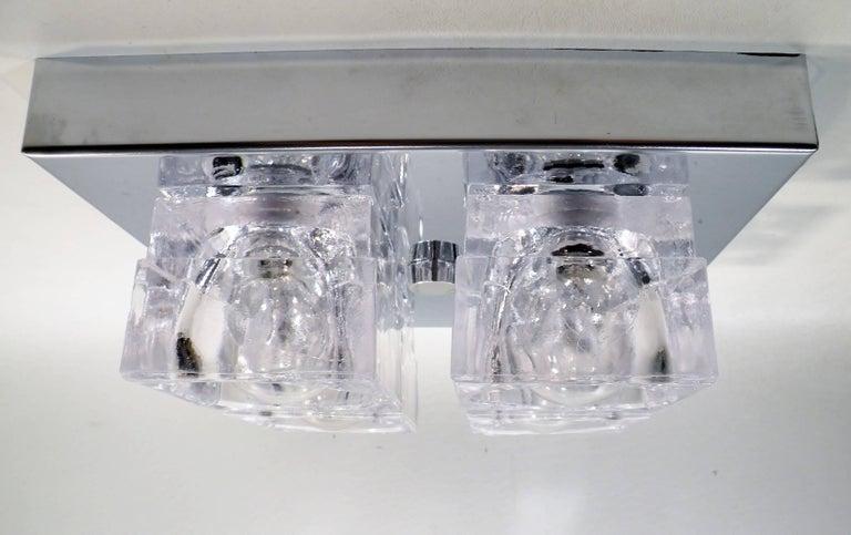 Hollywood Regency 1960s Gaetano Sciolari Four-Light Crystal Cube Flush Mount Lamp For Sale