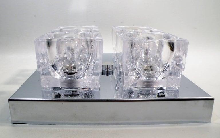 American 1960s Gaetano Sciolari Four-Light Crystal Cube Flush Mount Lamp For Sale