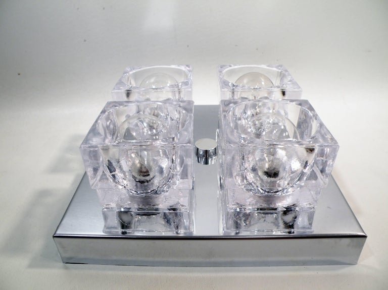 1960s Gaetano Sciolari Four-Light Crystal Cube Flush Mount Lamp In Excellent Condition For Sale In Denver, CO