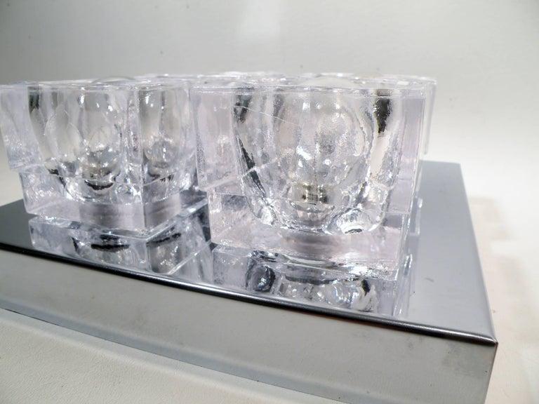 1960s Gaetano Sciolari Four-Light Crystal Cube Flush Mount Lamp For Sale 2