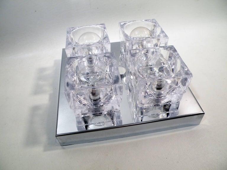 1960s Gaetano Sciolari Four-Light Crystal Cube Flush Mount Lamp For Sale 3