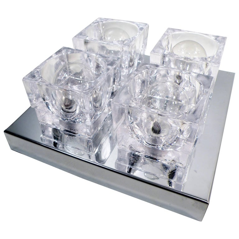 1960s Gaetano Sciolari Four-Light Crystal Cube Flush Mount Lamp For Sale