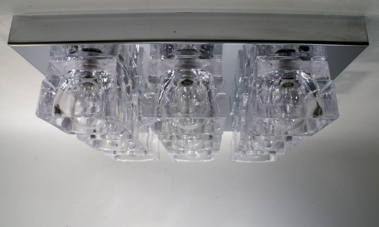 1960s Gaetano Sciolari Nine-Light Crystal Cube Flush Mount Lamp In Excellent Condition For Sale In Denver, CO