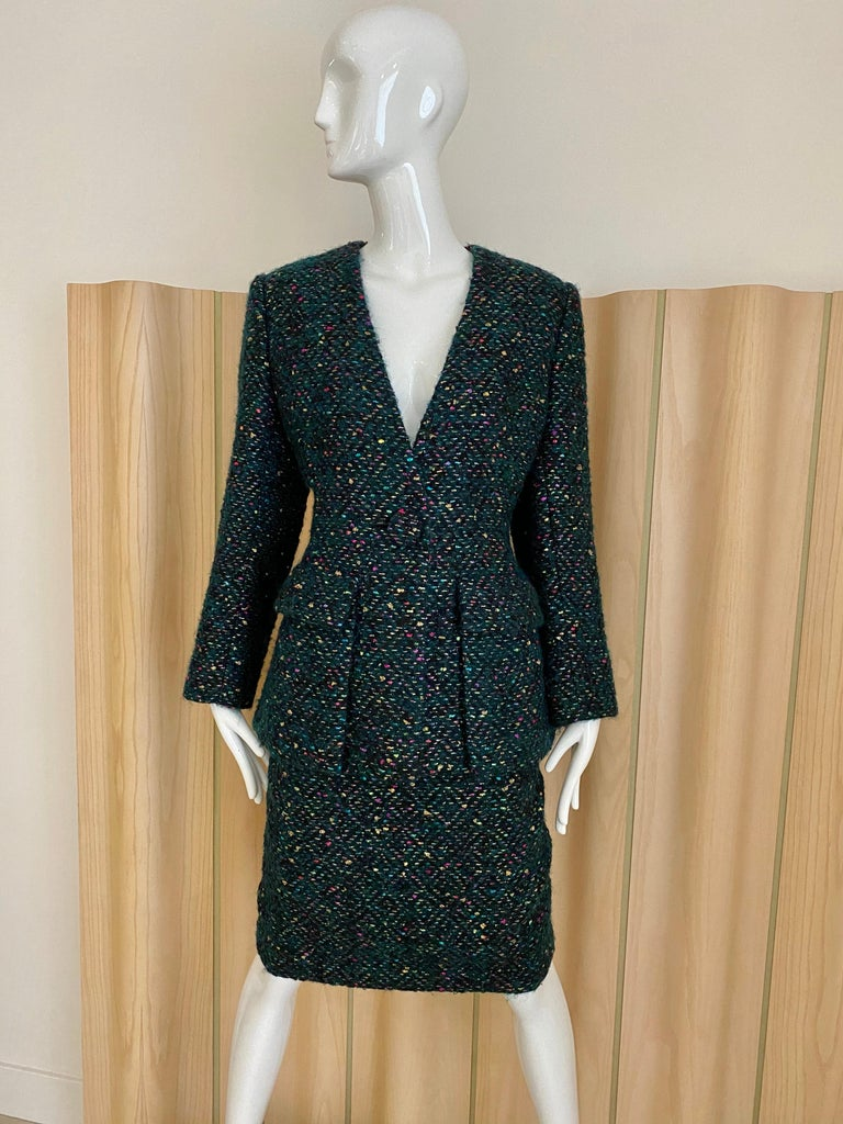 Black 1960s  Galanos Green Metallic Cashmere and  Wool Boucle Skirt Suit For Sale