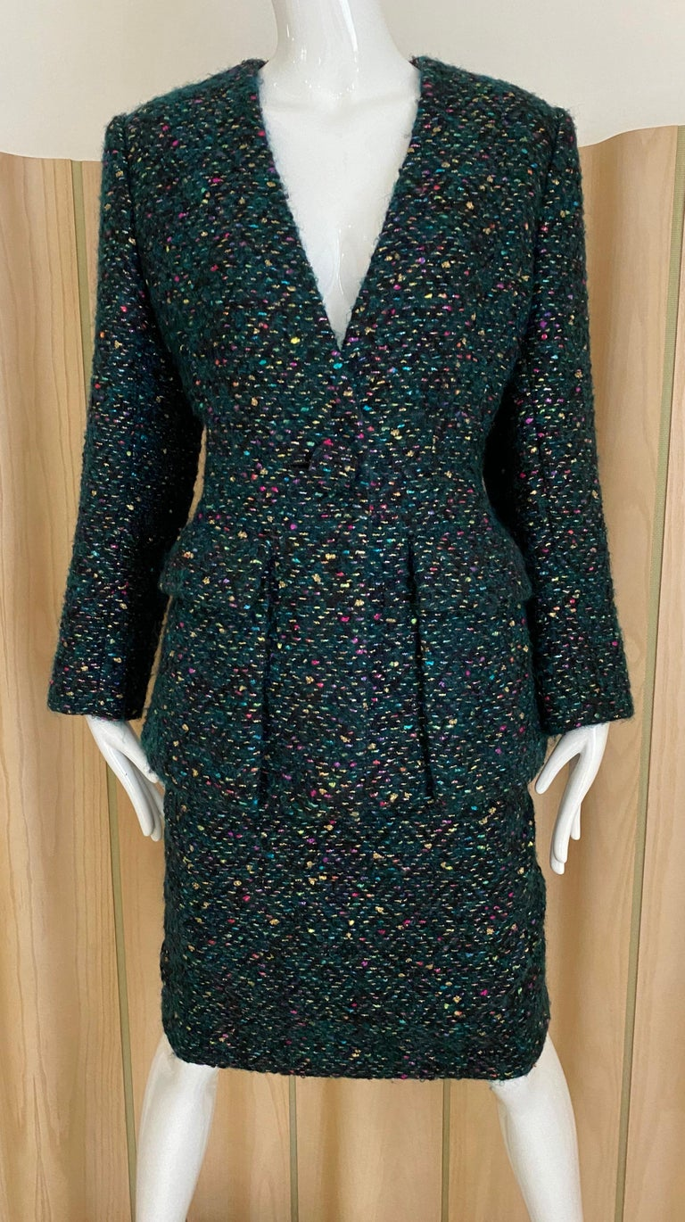 1960s  Galanos Green Metallic Cashmere and  Wool Boucle Skirt Suit In Excellent Condition For Sale In Beverly Hills, CA
