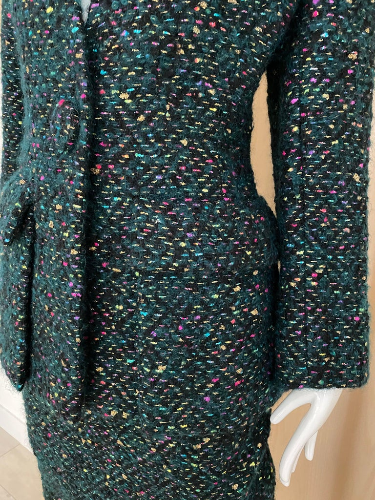 1960s  Galanos Green Metallic Cashmere and  Wool Boucle Skirt Suit For Sale 1