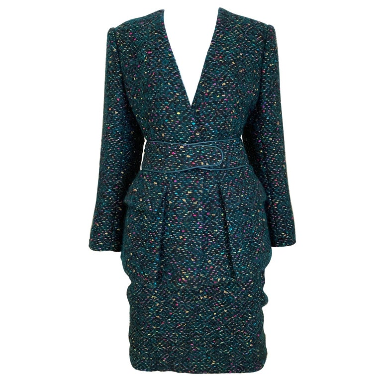 1960s  Galanos Green Metallic Cashmere and  Wool Boucle Skirt Suit For Sale