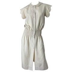 1960s Galanos Ivory Off - White Linen Avant Garde Vintage 60s Mod Cream Dress