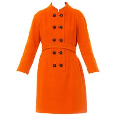 1960S Galanos Orange Wool Boucle Mod Shift Dress Fully Lined In Silk With Pocket