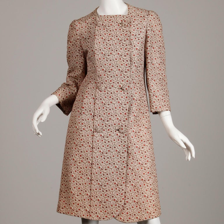 Brown 1960s Galanos Vintage Floral Print Mod Coat with Cropped Sleeves + Red Lining For Sale
