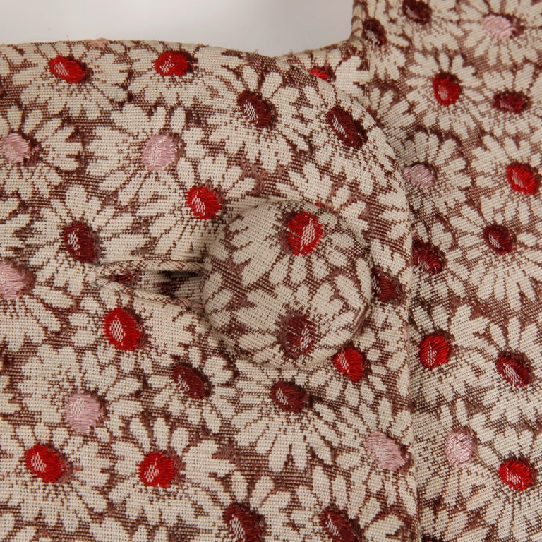 1960s Galanos Vintage Floral Print Mod Coat with Cropped Sleeves + Red Lining In Excellent Condition For Sale In Sparks, NV