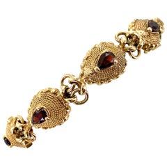 1960s Garnet 14 Karat Yellow Gold Link Vintage Bracelet