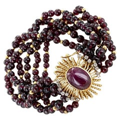 1960s Garnet Bead Multi-Strand Bracelet Cabochon Ruby Diamond Yellow Gold Clasp