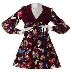 1960S Gayle Kirkpatrick Cotton Velvet Patchwork Mini Dress With Sleeves