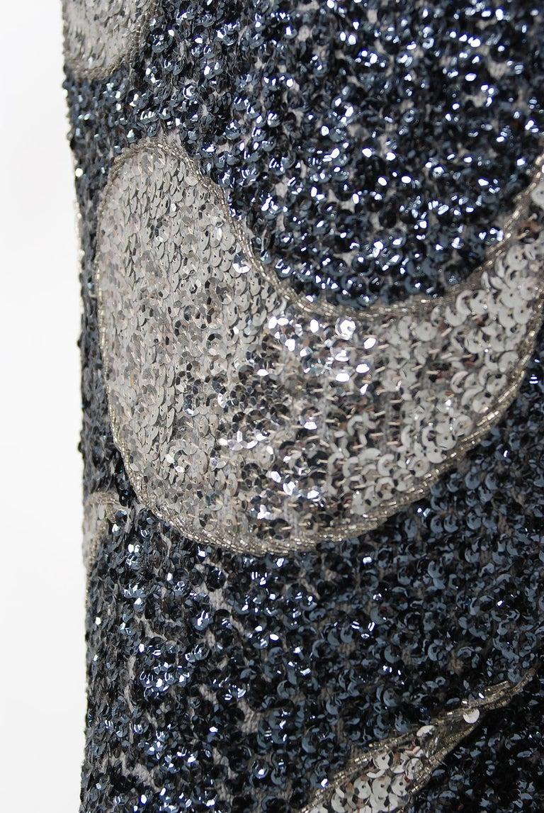 Women's Vintage 1960's Gene Shelly Silver Sequin Beaded Wool Knit Hourglass Dress