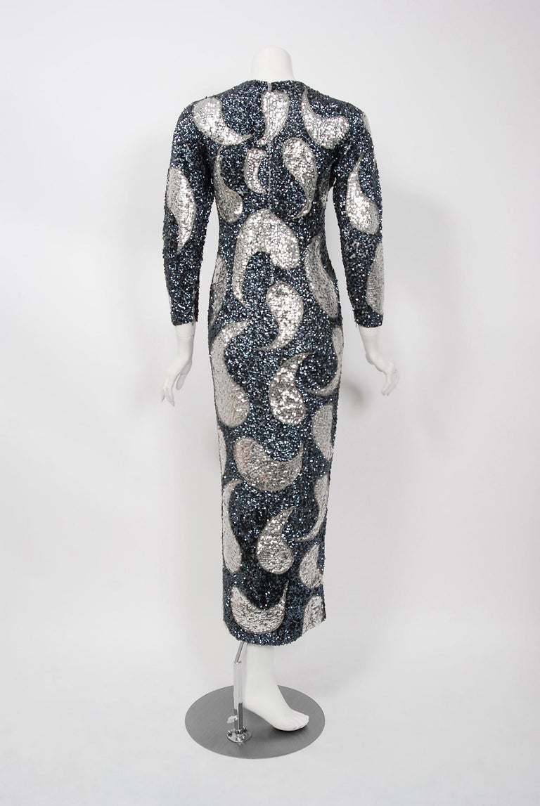 Vintage 1960's Gene Shelly Silver Sequin Beaded Wool Knit Hourglass Dress 2