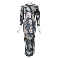 1960's Gene Shelly Silver Paisley Sequin Beaded Wool Knit Hourglass Dress