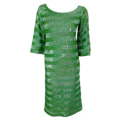 1960s Lime Green Fully Sequined 3/4 Sleeves Vintage 60s Wool Dress