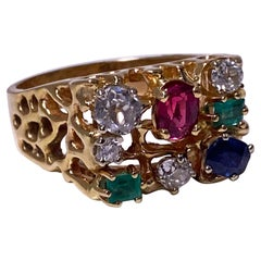 1960's Gentleman's Gold and Gemstone Ring