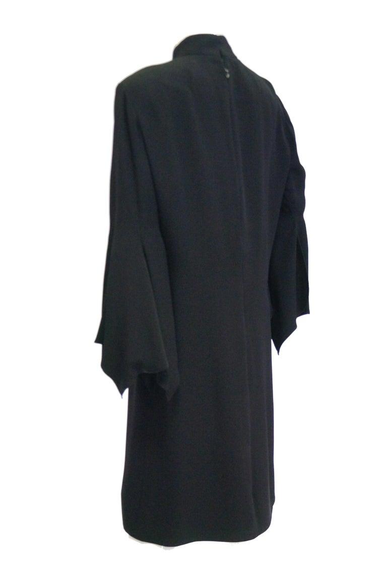 1960s Geoffrey Beene Black Petal Bell Sleeve Cocktail Dress For Sale 1