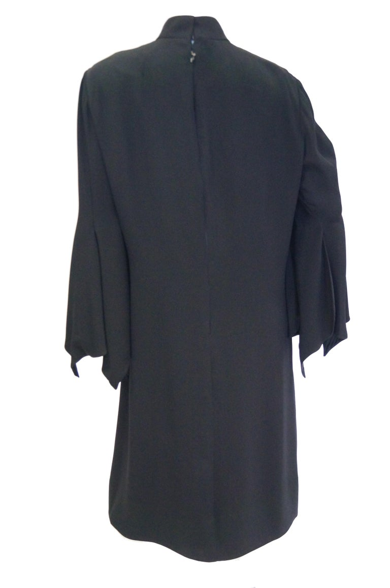 1960s Geoffrey Beene Black Petal Bell Sleeve Cocktail Dress For Sale 2