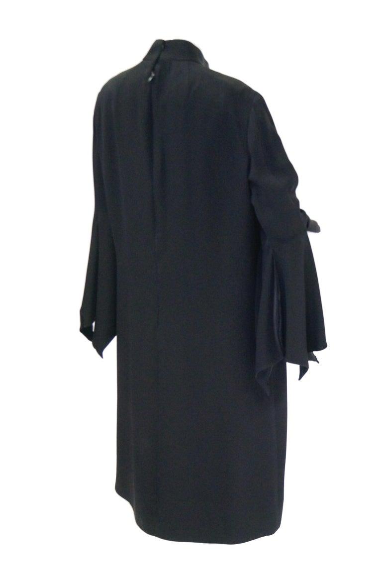 1960s Geoffrey Beene Black Petal Bell Sleeve Cocktail Dress For Sale 3