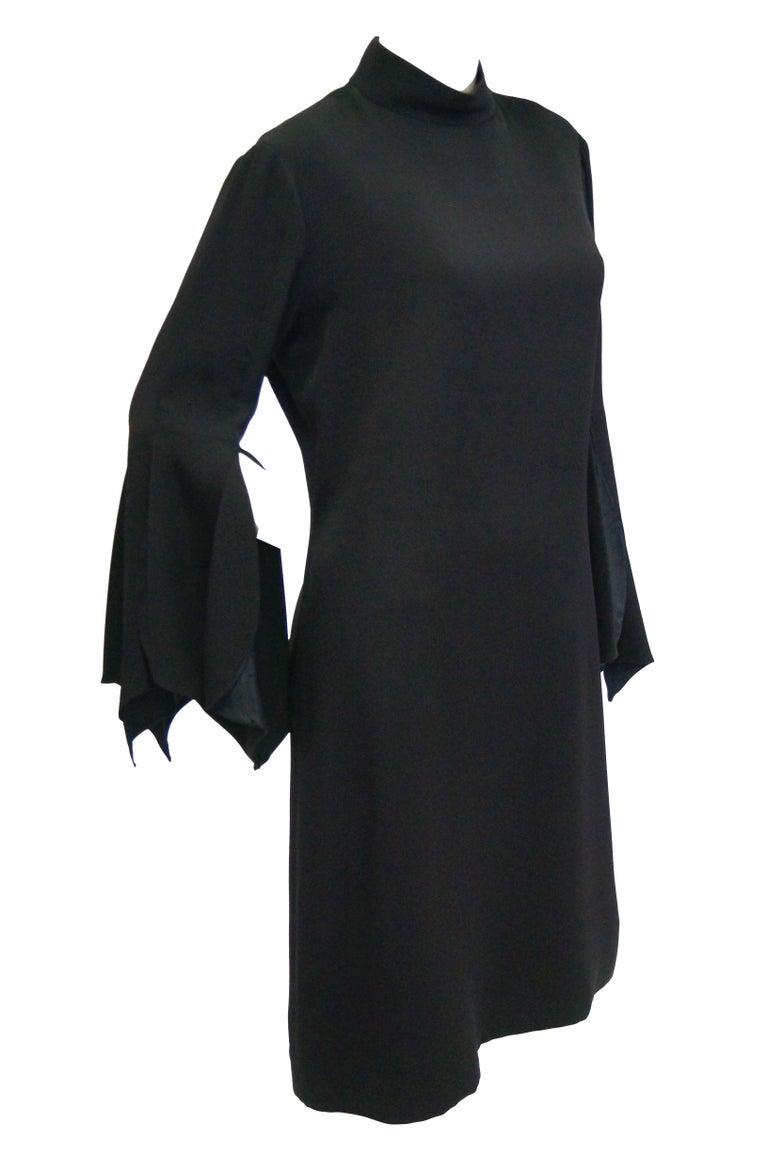 1960s Geoffrey Beene Black Petal Bell Sleeve Cocktail Dress For Sale 4