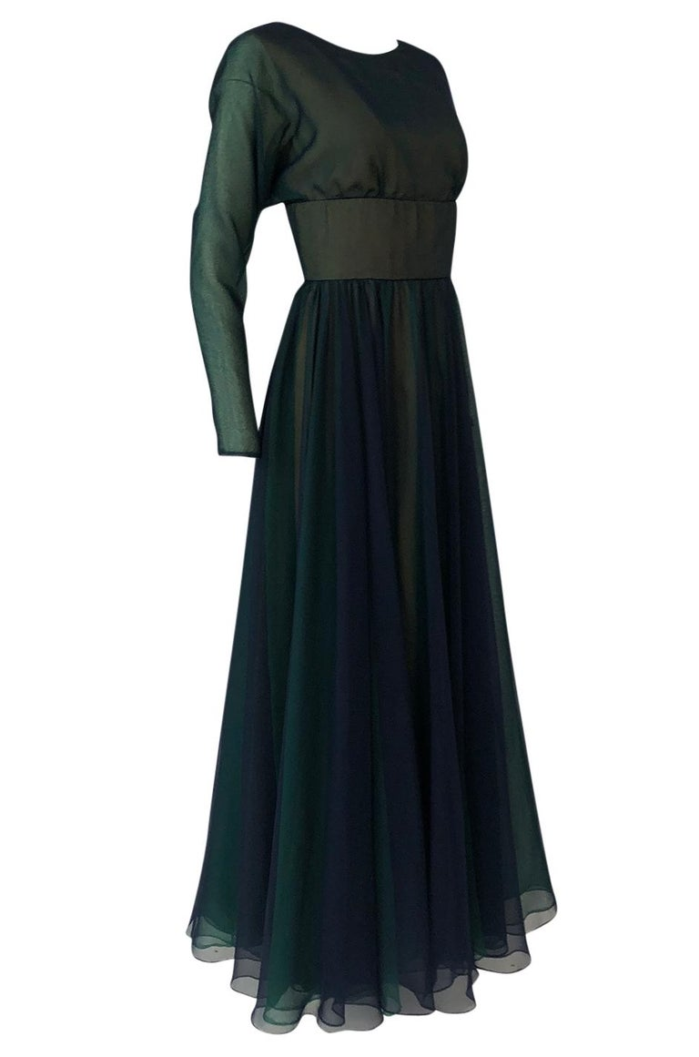 Black 1960s Geoffrey Beene Blue & Green Backless Layered Chiffon Dress For Sale