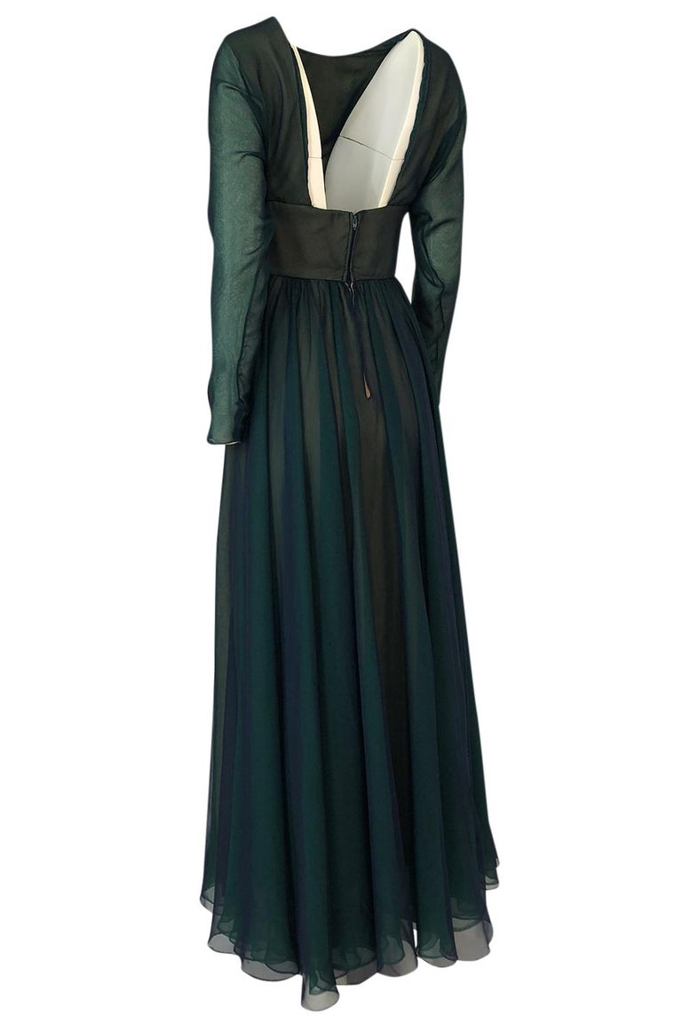 Women's 1960s Geoffrey Beene Blue & Green Backless Layered Chiffon Dress For Sale