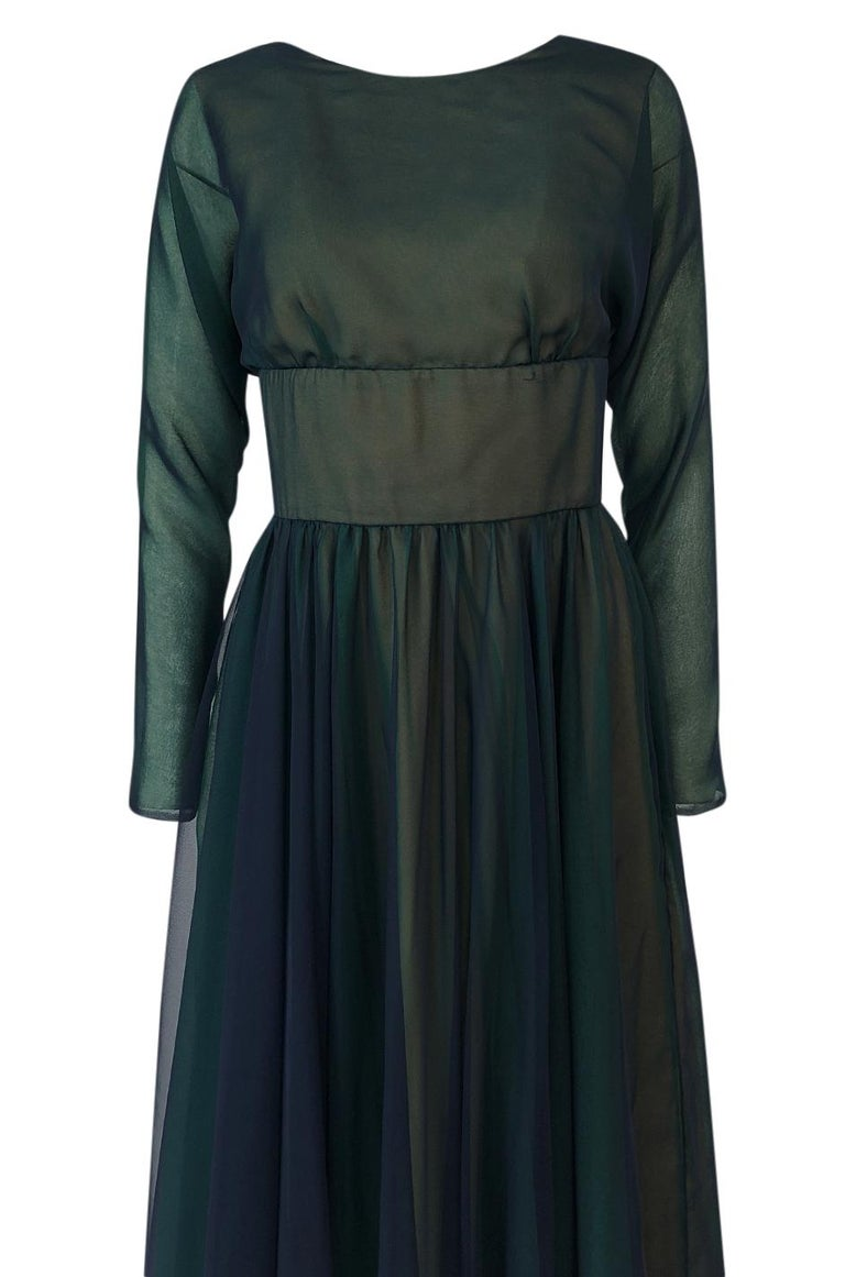 1960s Geoffrey Beene Blue & Green Backless Layered Chiffon Dress For Sale 1