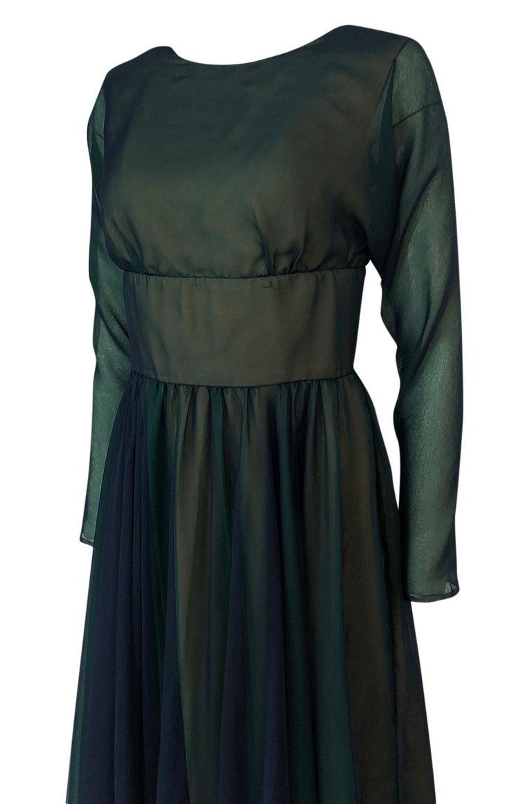 1960s Geoffrey Beene Blue & Green Backless Layered Chiffon Dress For Sale 2