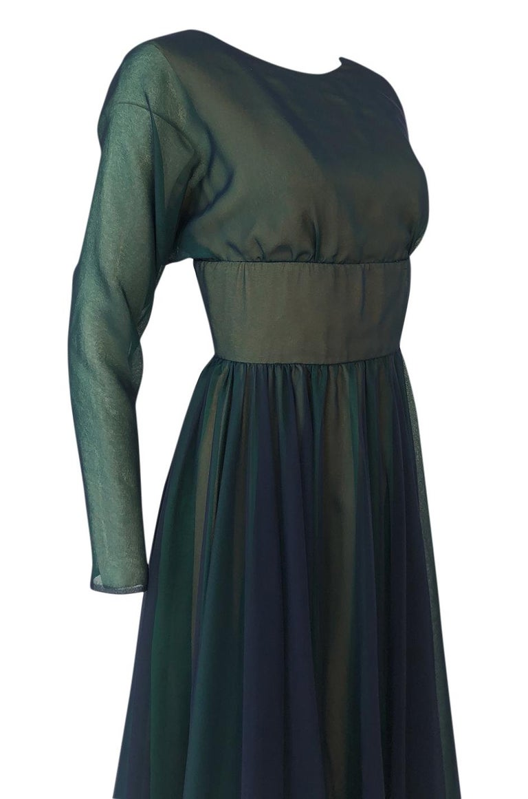 1960s Geoffrey Beene Blue & Green Backless Layered Chiffon Dress For Sale 3