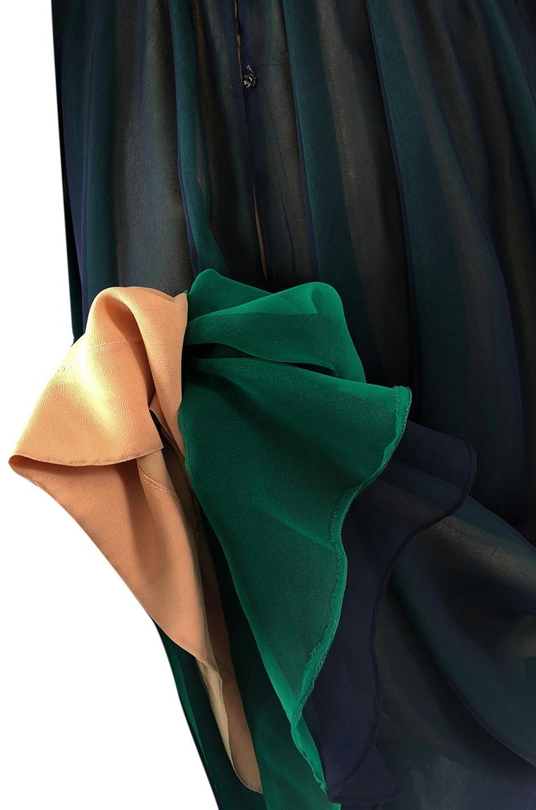 1960s Geoffrey Beene Blue & Green Backless Layered Chiffon Dress For Sale 4