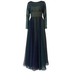 1960s Geoffrey Beene Blue & Green Backless Layered Chiffon Dress