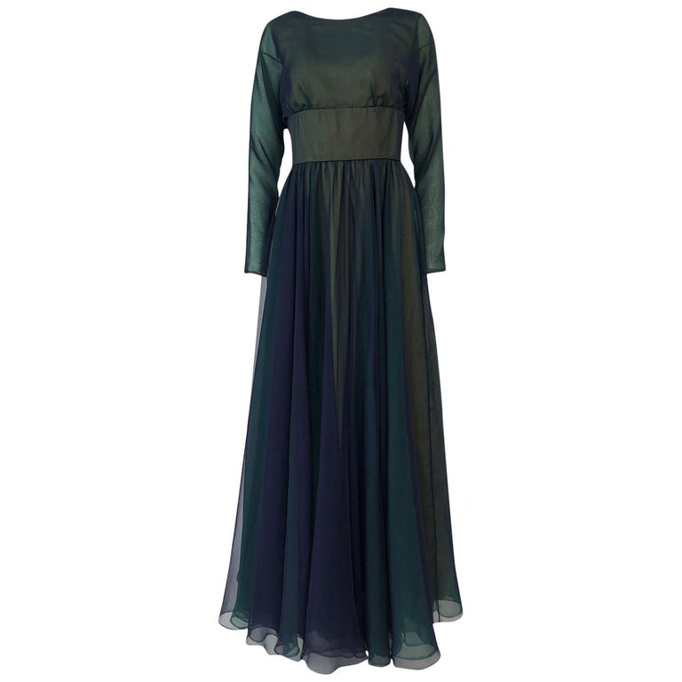 1960s Geoffrey Beene Blue & Green Backless Layered Chiffon Dress For Sale